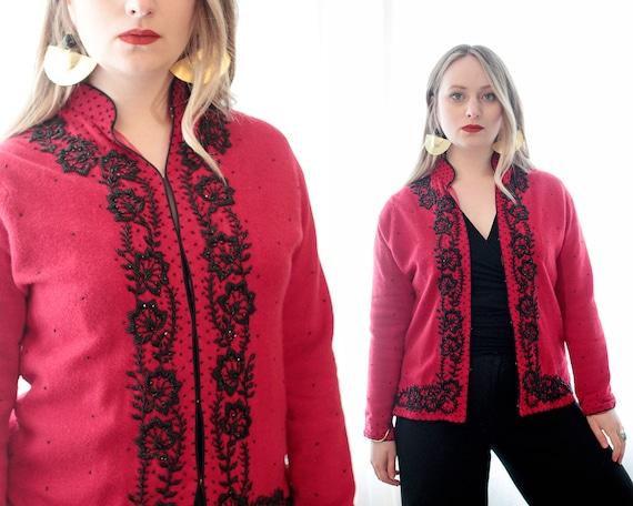 Vintage 1950s 1960s red wool black beaded cardigan