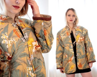 Vintage 1980s Chinese style tropical puffy jacket neutral beige sage green orange metallic clasp Mandarin collar