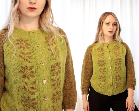 Vintage 1950s hand knit green brown flower print n