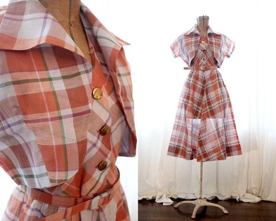 Vintage 1950s cotton halter dress set bronze butto