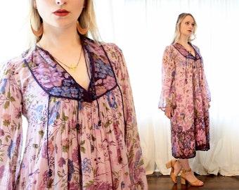 vintage 1970s Indian cotton gauze lavender purple peasant bohemian ethnic hippie dress 70s