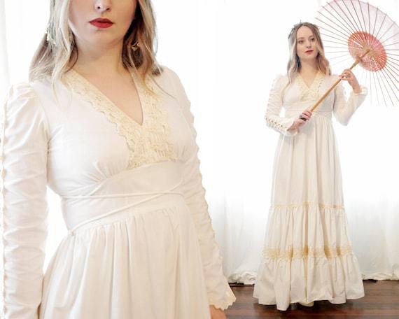 Gunne Sax ivory cotton cream crochet lace trim boh