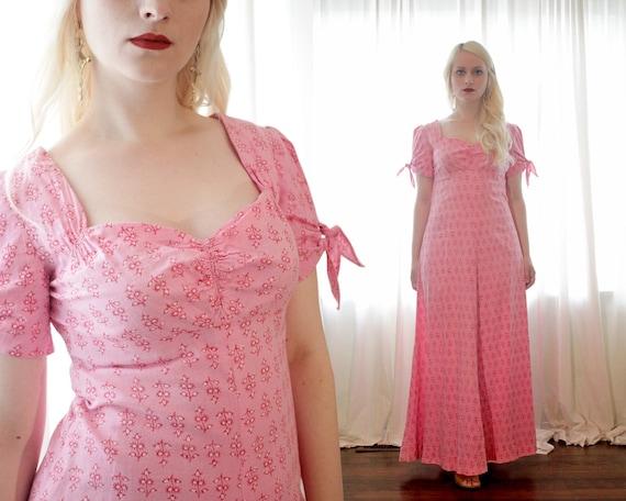 Vintage 1960s 1970s pink block print cotton India