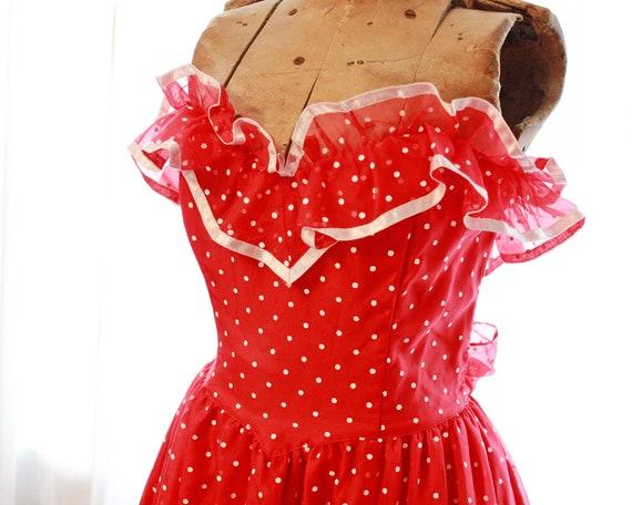 Rare vintage Gunne Sax Red white polkadot polka d… - image 4