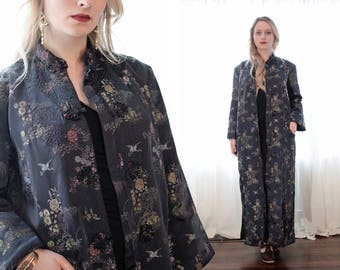 Vintage Chinese satin silk brocade black Chinese quilted evening jacket kimono style formal overcoat Asian ethnic bohemian Cheongsam