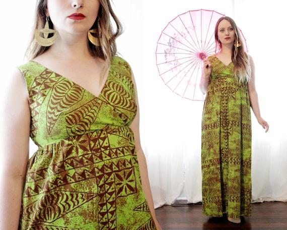 Vintage 1960s Polynesian Hawaiian avocado green an