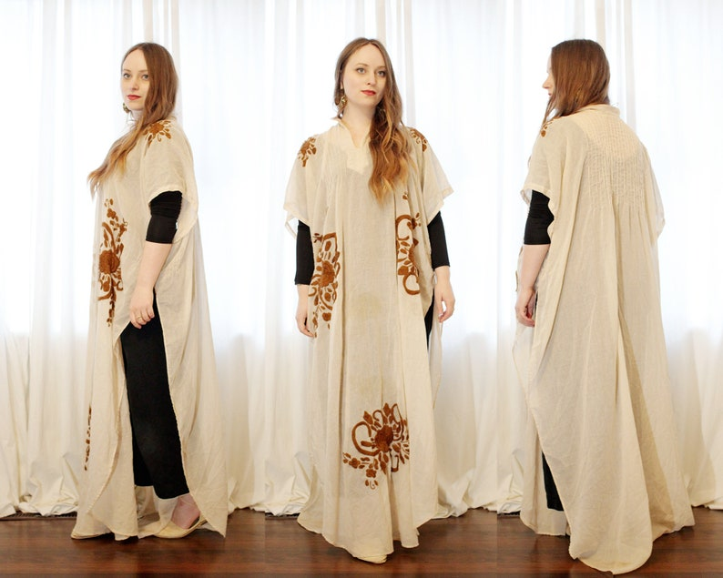 Vintage Mexican cotton gauze maxi caftan open side tunic dress cover embroidered bohemian folk style cream brown