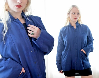 Vintage Chinese silk indigo blue warm puffy quilted oriental Asian jacket with pockets ethnic boho