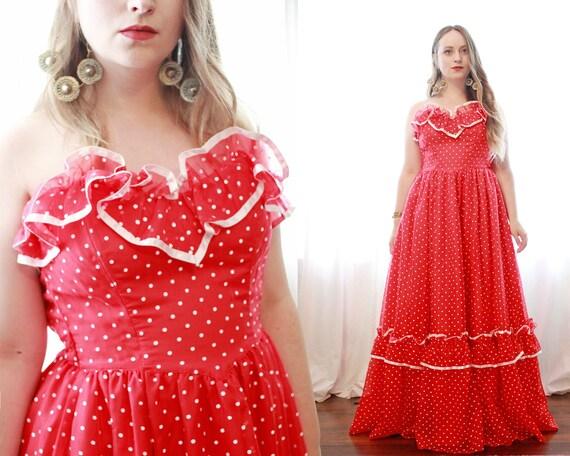 Rare vintage Gunne Sax Red white polkadot polka d… - image 1