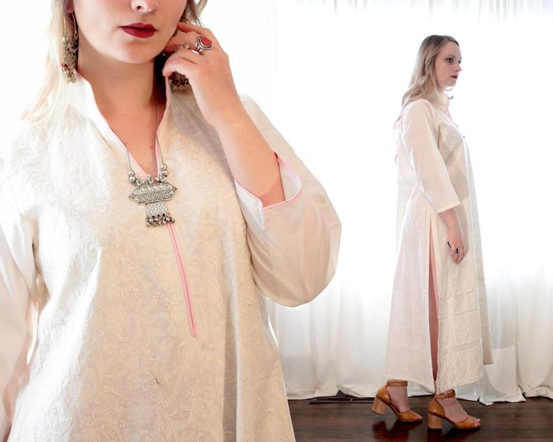 6c185fc5d0c06 Vintage blanc en coton indien brodé col Mao boho mariage