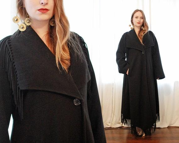 Vintage Italian black Cashmere wool blend  blanket