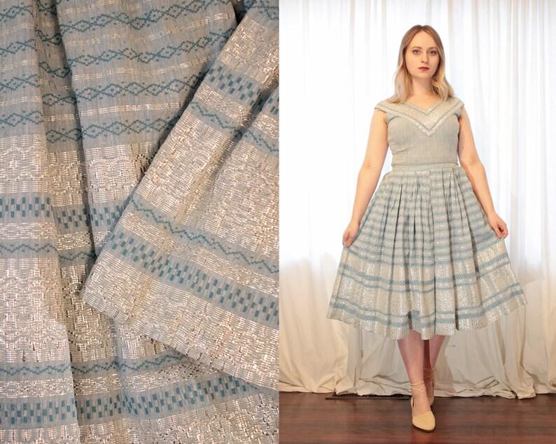 b68e9c44b3a4 Vintage 1950s Guatemalan bohemian pale blue silver skirt | Etsy