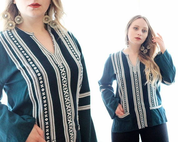 Vintage woven folk blouse top embroidered longslee