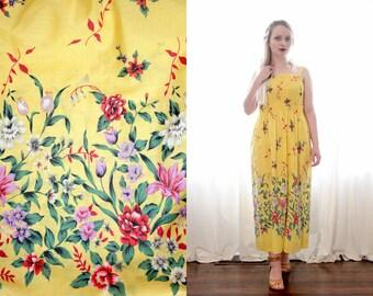 Vintage 1970s golden yellow floral print smocked top sleeveless sundress sun dress hippie folk BoHo 70s