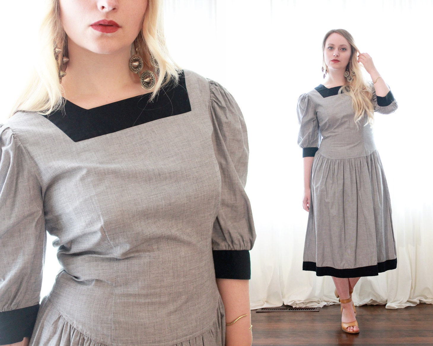 80s Dresses   Casual to Party Dresses Vintage 1980S Does 1910S Gray Black Woven Cotton Drop Waist Puffy Sleeve Midi Length Tea Dress $24.00 AT vintagedancer.com