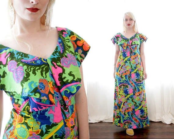 Vintage 1960s vibrant psychedelic Paisley and ros… - image 1