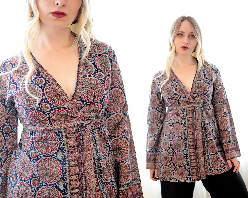 2d9abed10 Vintage 1960s Indian block printed pint cotton wrap tunic