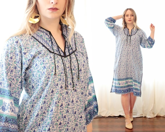 Vintage Indian cotton gauze block printed tunic st