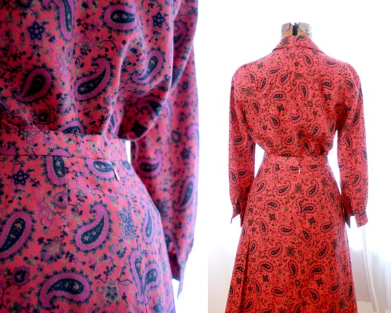 psychedelic red 1960s print black 60s pencil paisley Vintage skirt suit purple blouse set pink E5qxwnSB