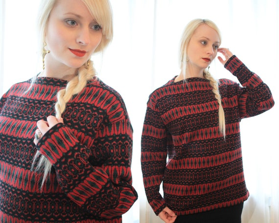 Vintage Austrian red green black knitted sweater E
