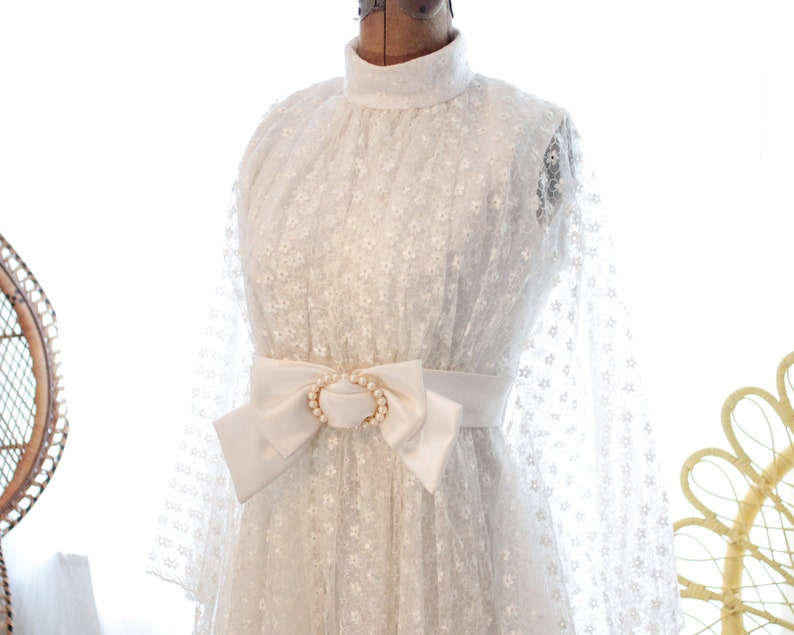 02a64cb0396 Vintage Japanese wedding dress sheer daisy print eyelet lace