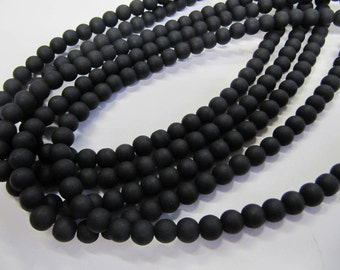 Frosted Glass Beads, Black, 8 mm, 56 Beads, Value Beads, Great for any Beading Project #0054