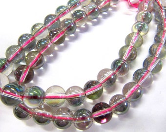 Rainbow Glass Color Pink Beads, 8 MM, Shiny, Round, Jewelry Making Beads