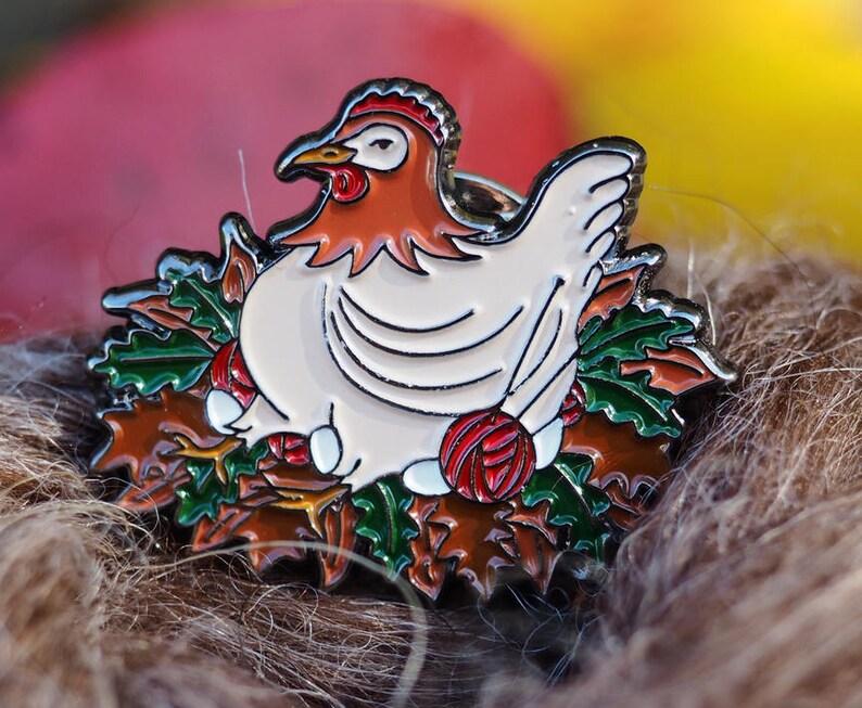 Knitting Chicken Enamel Pin 1 Lapel Pin Bag Pin image 0
