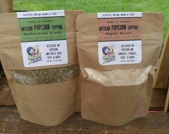Gourmet Popcorn Toppings - Handcrafted in Vermont By Karen - Herb or Maple