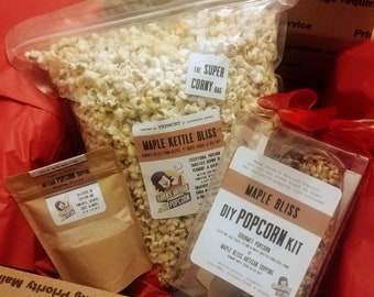 Vermont Maple Kettle Corn Gift Box - Do it yourself kit plus already made Maple Kettle Bliss Popcorn - Handmade in Vermont