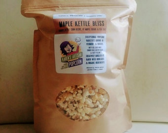 Maple Kettle Bliss Popcorn - 6 bags of Gourmet Popcorn - Made in Vermont - Maple sugar and sea salt kettle corn