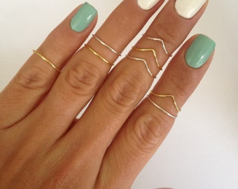 8 Midi Rings in Gold and Silver, Chevron and Simple Band Midi Rings. Mid knuckle stacking rings to wear in many combinations! -Best Seller-