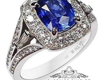 Untreated Sapphire Engagement ring, 2.08 ct Blue Cushion Cut Ceylon Sapphire - 3179