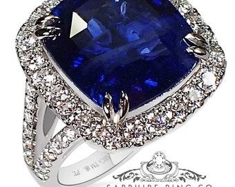 10.51 ct Platinum Vivid Blue Natural Ceylon Sapphire Ring - 3181