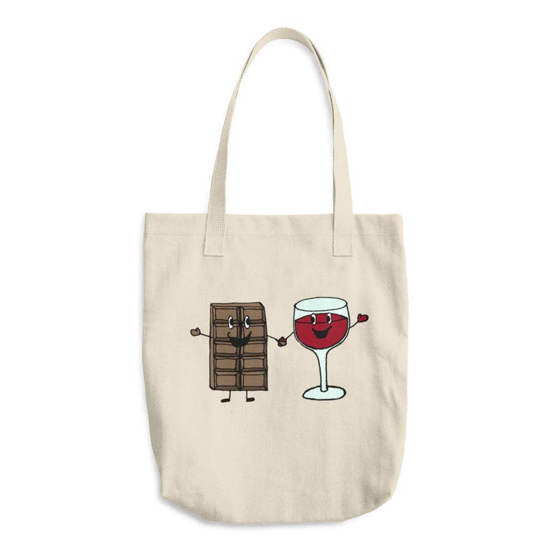 98c5965a99 Chocolate and Wine Cotton Tote Bag | Etsy