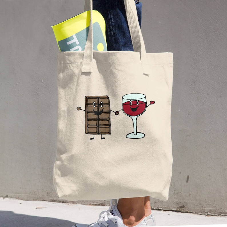 Chocolate and Wine Cotton Tote Bag
