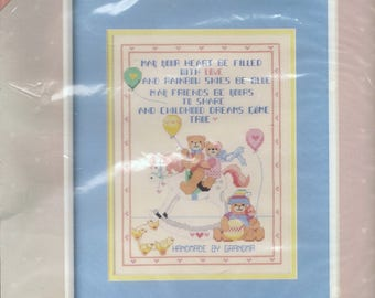 Dimensions Childhood Dreams From the Heart Rocking Horse Teddy Bear Cross Stitch