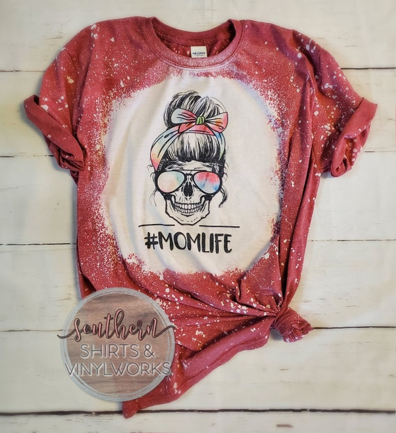 mommy and me woman skull shirt bleached shirt kid life leopard skull shirt skull tshirt messy hair mom life messy bun