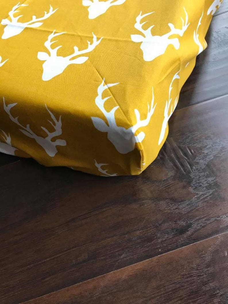 Fitted Changing Pad Cover in Buck Forest Peach Bear Collection Hello Coral Baby Bedding Deer Modern Woodland Nursery