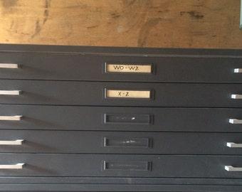 Flat file cabinet etsy vintage 5 drawer flat file blurptint cabinet with custom wood top 46 12 w malvernweather Images