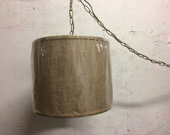 Contemporary Drum Shape Burlap hanging Swag 12' cord with plug