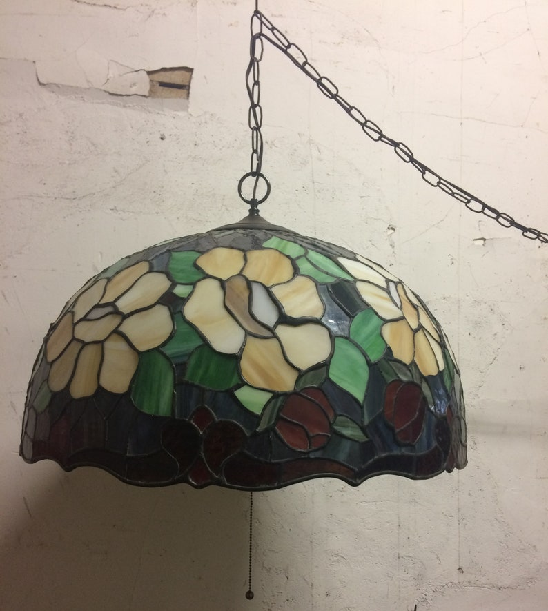 24 W Vintage Stained Glass Hanging Pendant Plug In Swag Lamp 15 Cord