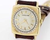 14K Yellow Gold Longines Wrist Watch with Diamond Bezel