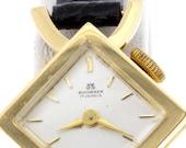 17 Jewel Movement Bucherer Wrist Watch 18K Yellow Gold Square Bezel