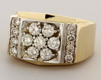 14K Gold Large Diamond Cluster Ring Wide Shank