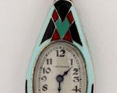 C. Bucherer Sterling Silver and Enamel Art Deco Style Pendant Watch