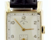 1940s 14K Yellow Gold Lord Elgin Wrist Watch with Square Bezel