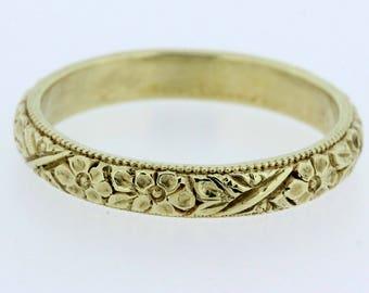 Engraved Flower Band with Milgrain 14K Gold