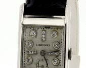 1950s Longines 14K White Gold Wrist Watch with Diamond Dial
