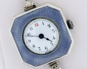 Blue Enameled and Engrave Wrist Watch with Bracelet Sterling Silver 7 Jewel Swiss Movement Muller Watch CO